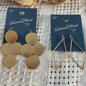 New Universal Thread 2 pairs dangling earrings